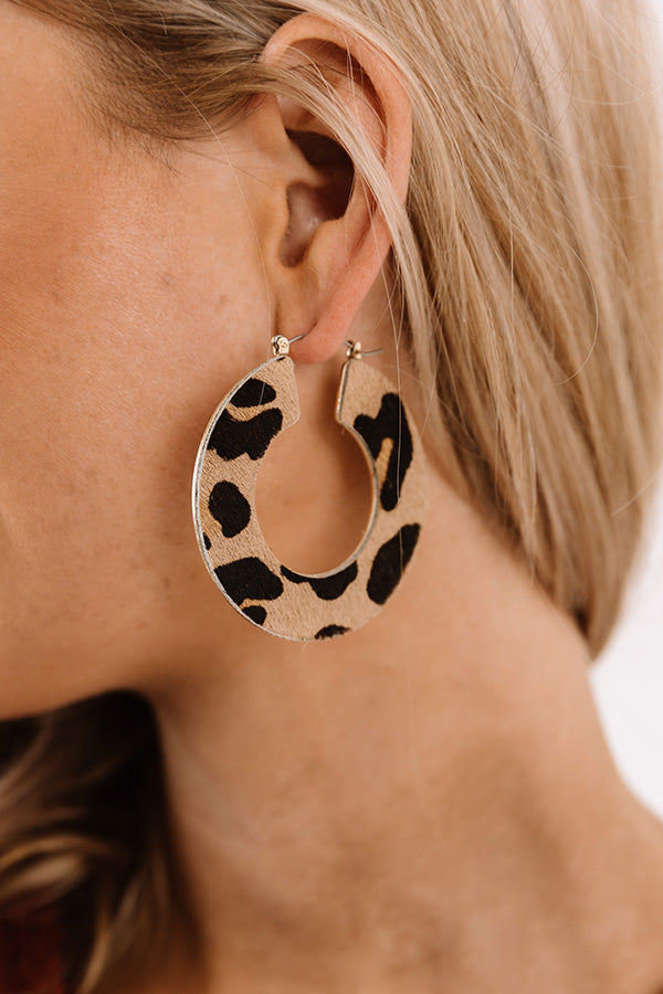 Lovely Leopard Hoop Earrings in Iced Latte