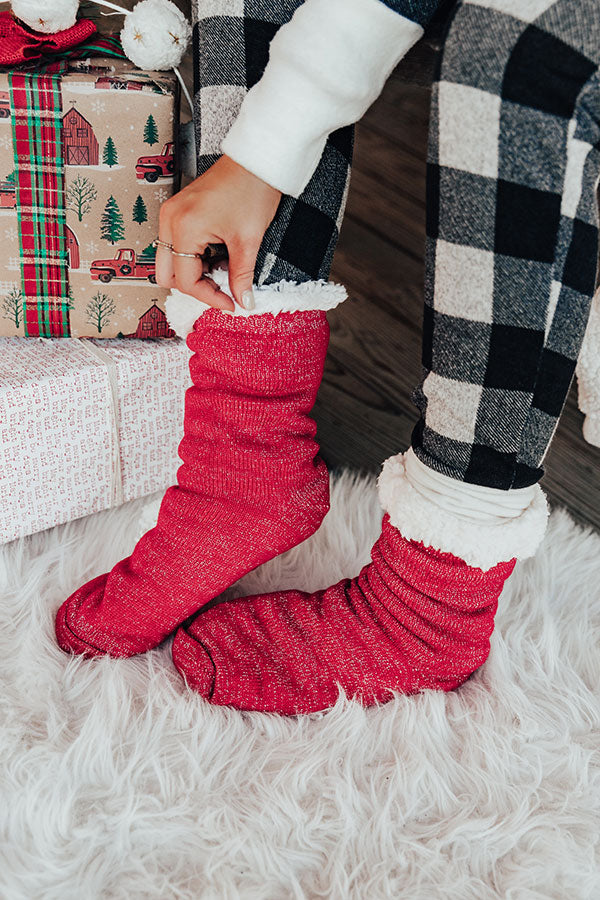 Cozy With You Sherpa Lined Slipper Socks