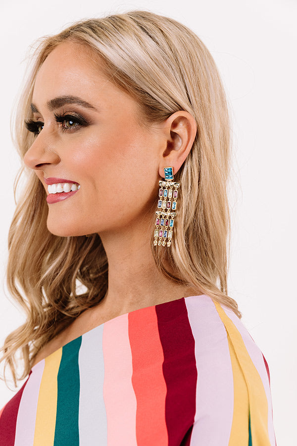 Jack Gold Statement Earrings in Multi Crystal