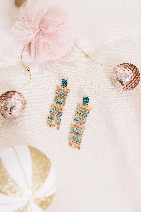 Jack Vintage Gold Statement Earrings in Teal Crystal