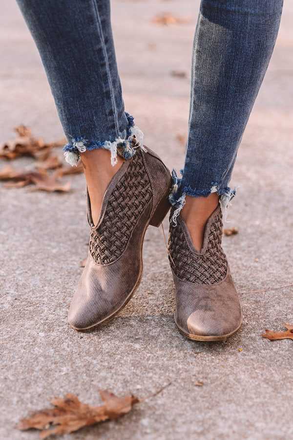 The Petra Woven Bootie in Hazelnut