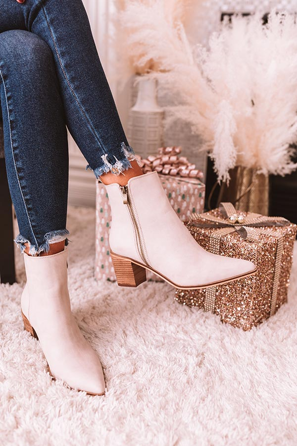 The Keely Faux Leather Bootie In Birch