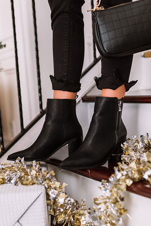 The Keely Faux Leather Bootie In Black