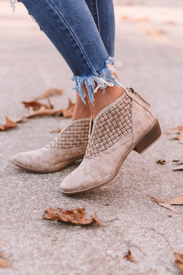 The Petra Woven Bootie in Taupe