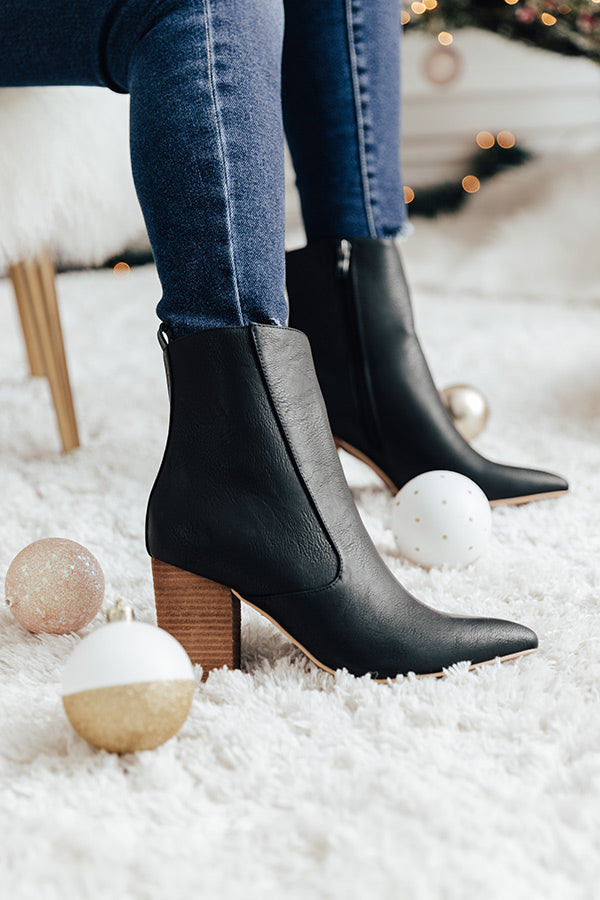 The Gia Faux Leather Bootie In Black
