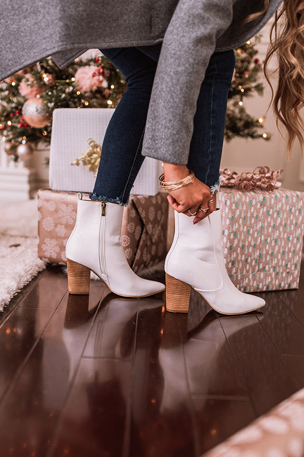 The Gia Faux Leather Bootie In White
