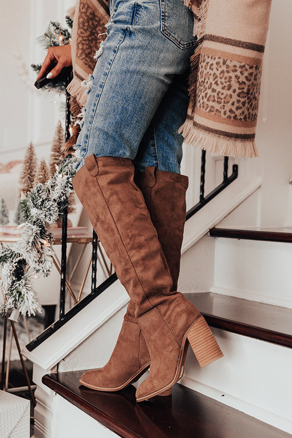 The Gracelynn Faux Suede Thigh High Boot In Mocha