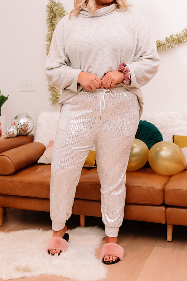 Sequin Smiles Joggers In Silver