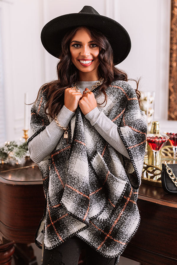 Snowmass Plaid Poncho In Black