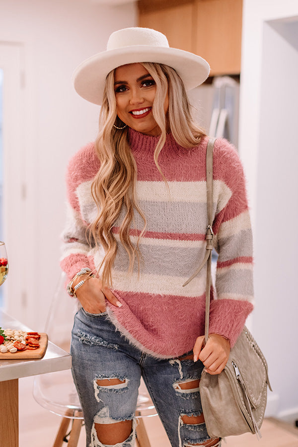 Cozy Candy Stripe Sweater In Violet