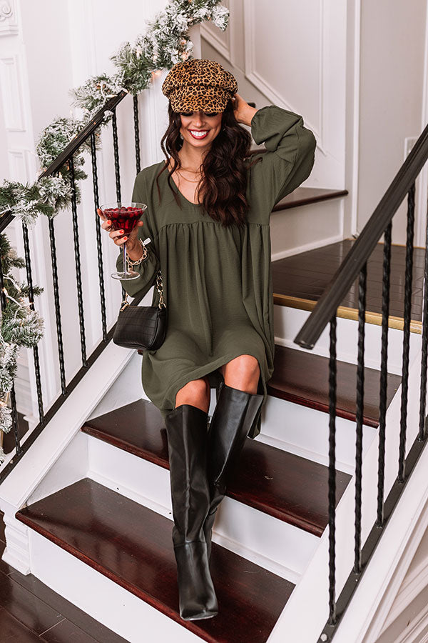 Charming Pose Babydoll Dress In Army Green