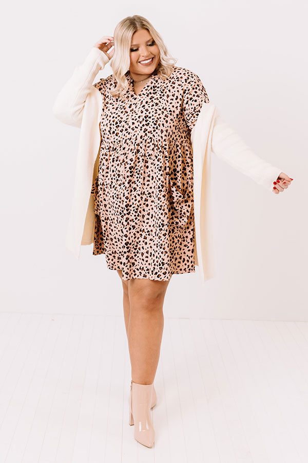Lovely In Leopard Shift Dress In Peach