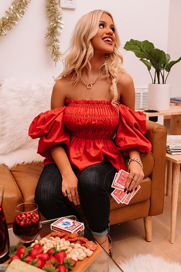 Perfect Charade Smocked Top In Red