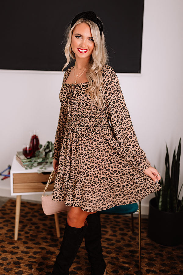Pour The Merlot Leopard Shift Dress