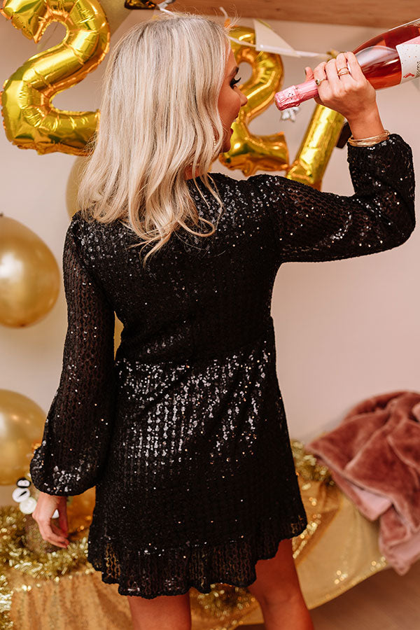 Midnight Toast Sequin Dress In Black