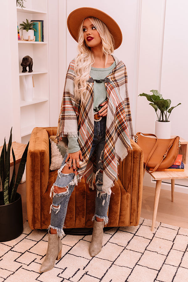 Infinitely Cozy Plaid Poncho In Grey