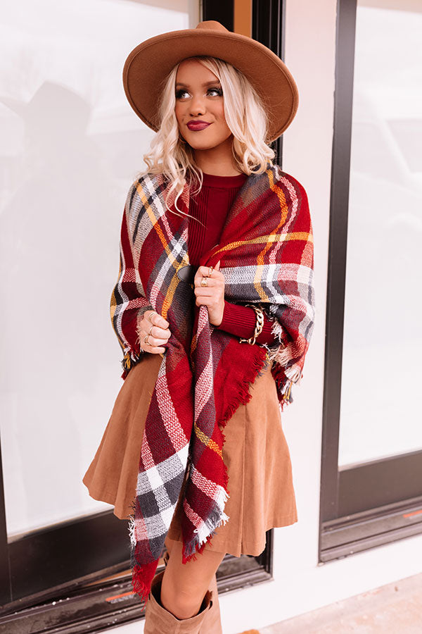 Infinitely Cozy Plaid Poncho In Wine