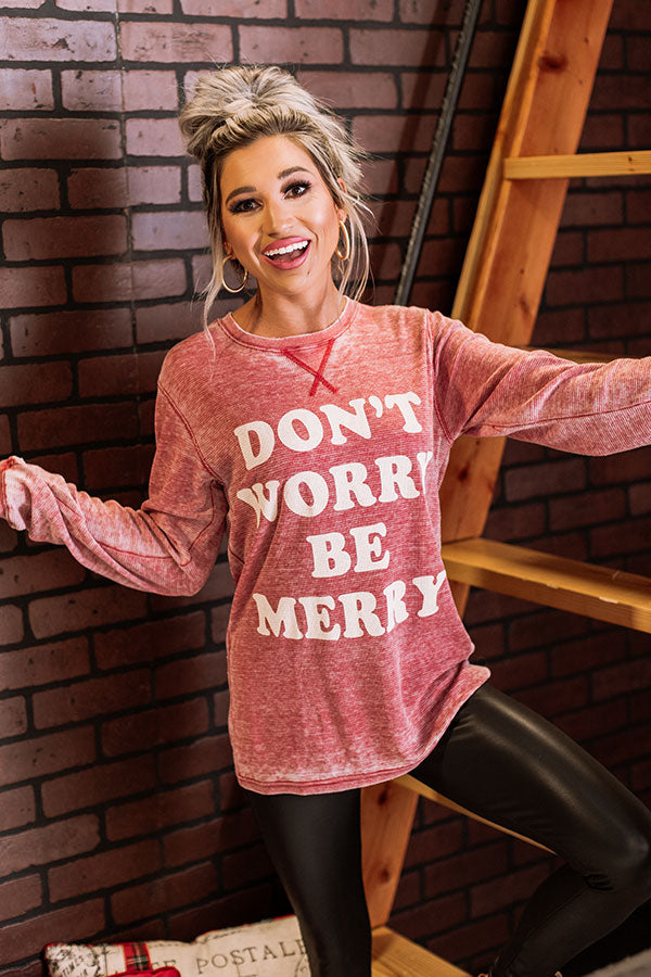 Don't Worry Be Merry Waffle Knit