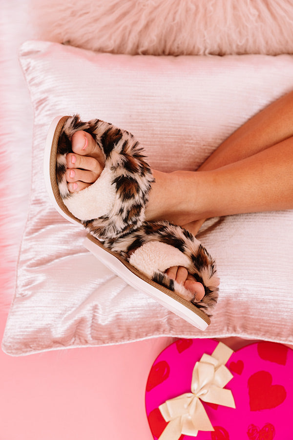 Lattes And Lounge Leopard Plush Slippers