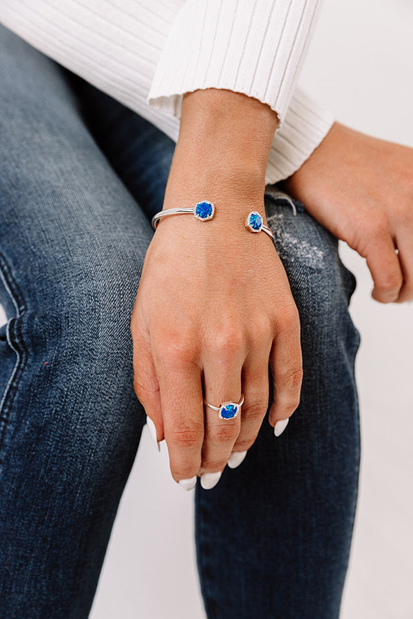 Davie Silver Cuff Bracelet in Royal Blue Kyocera Opal