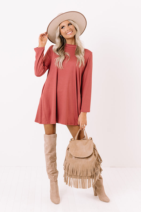 Simply Swept Away Shift Dress in Rustic Rose