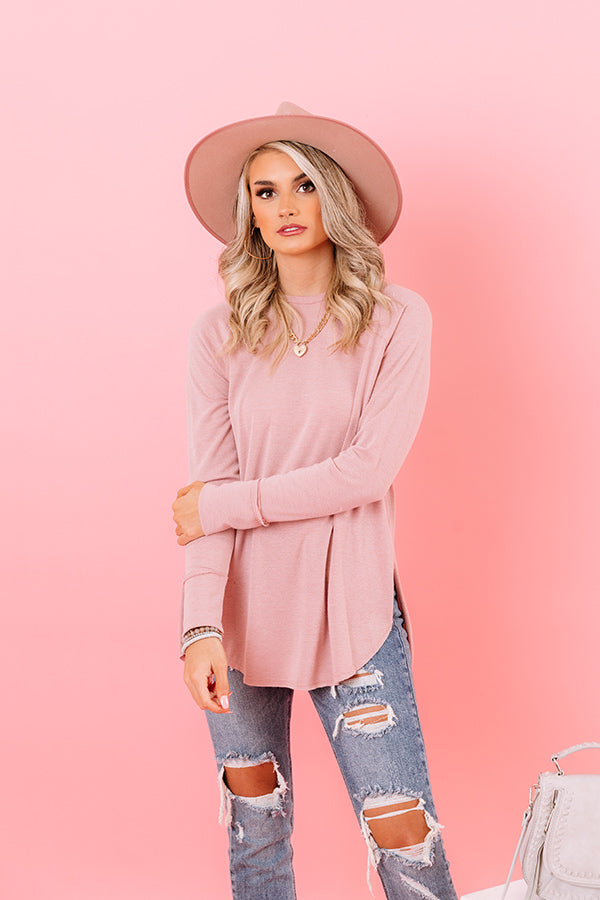 Miracles Happen Waffle Knit Shift Top in Pink