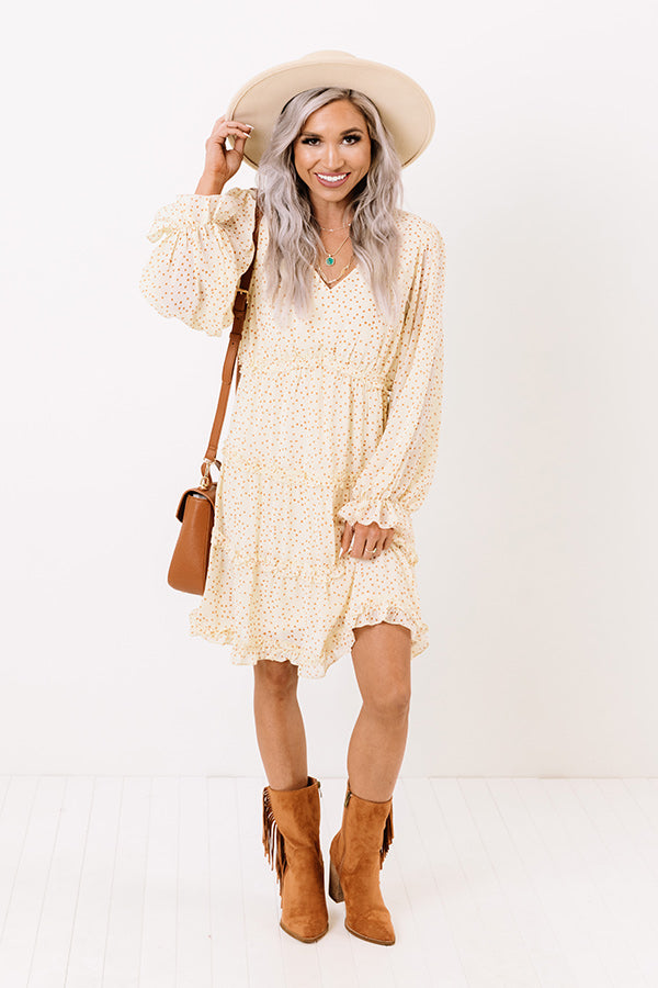 Gaze My Way Ruffle Dress in Cream