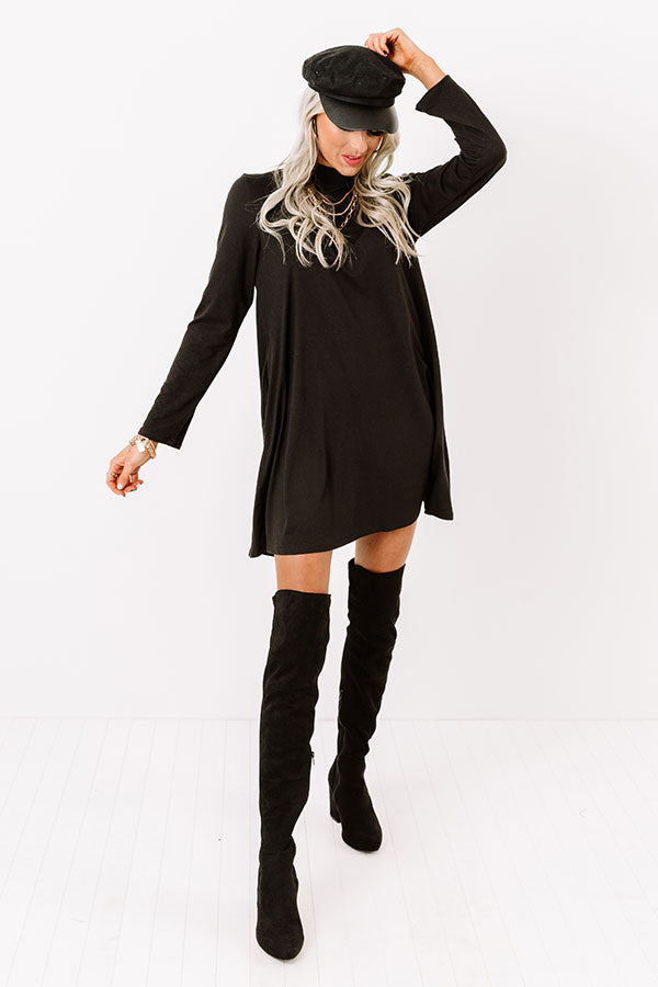 Simply Swept Away Shift Dress in Black