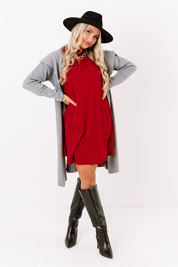 Simply Swept Away Shift Dress in Red