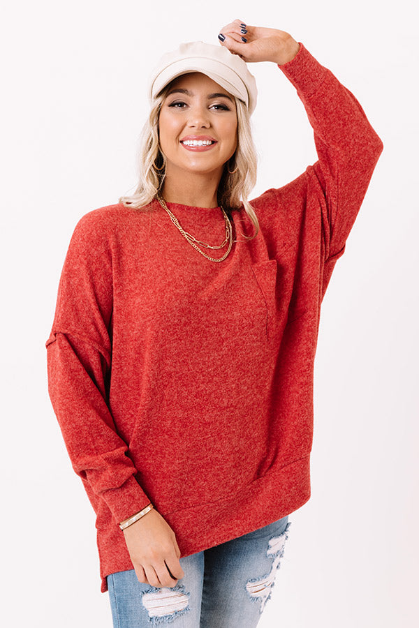 Upstate Cozy Shift Sweater In Red
