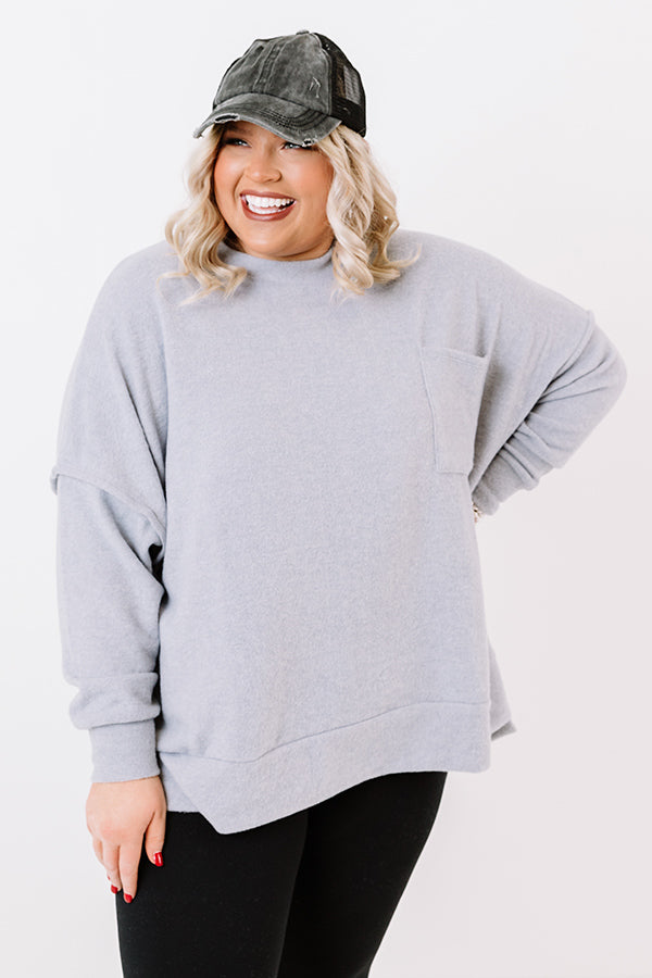Upstate Cozy Shift Sweater In Grey