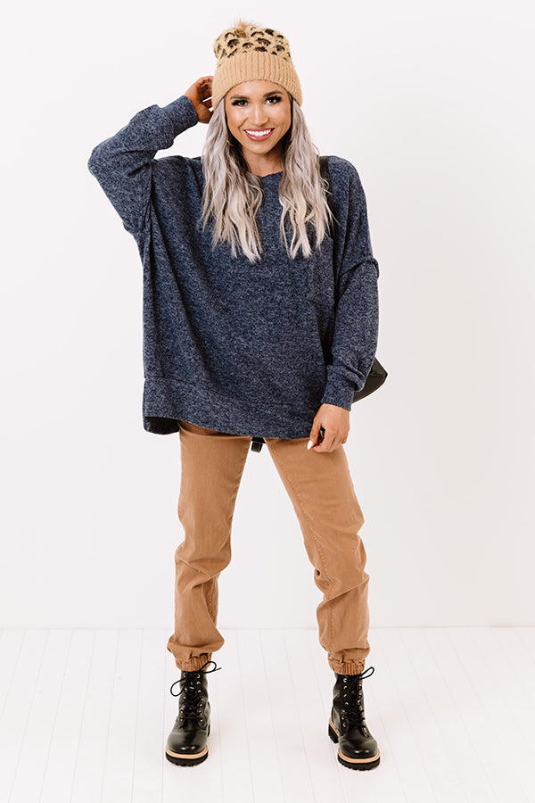 Upstate Cozy Shift Sweater In Navy