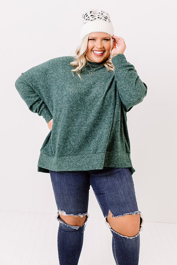 Upstate Cozy Shift Sweater In Hunter Green