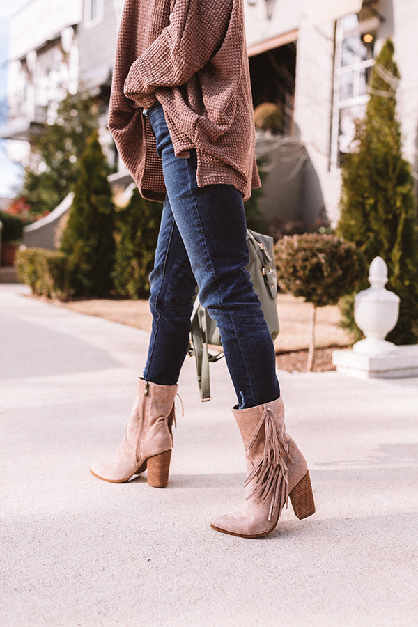 The Kaison Faux Suede Fringe Boot In Birch