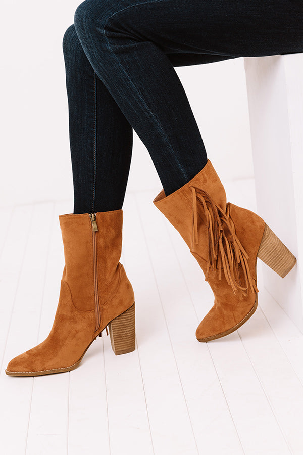 The Kaison Faux Suede Fringe Boot In Cinnamon