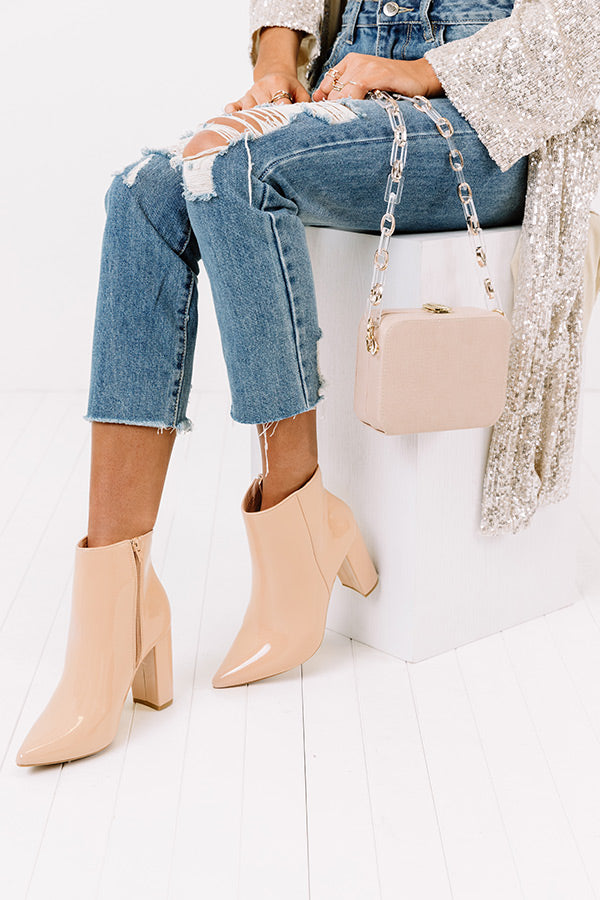 The Cora Patent Bootie in Natural