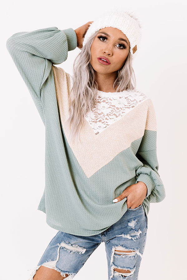 Romantic Drive Waffle Knit Top In Pear