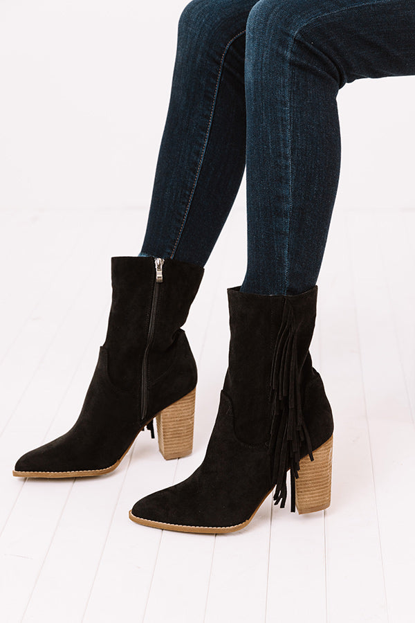 The Kaison Faux Suede Fringe Boot In Black