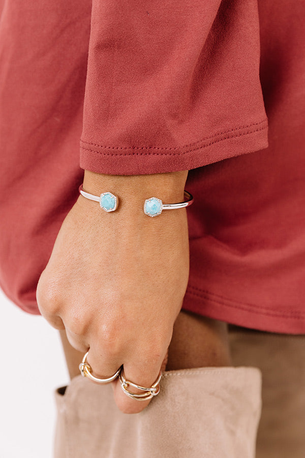 Davie Silver Cuff Bracelet in Light Blue Magnesite