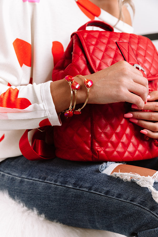 The Red Heart Bangle Bracelet