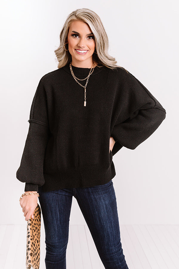 Latte Smiles Knit Sweater in Black