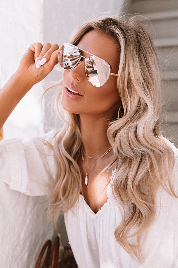 Quay Hold Please Aviator Sunnies in Gold