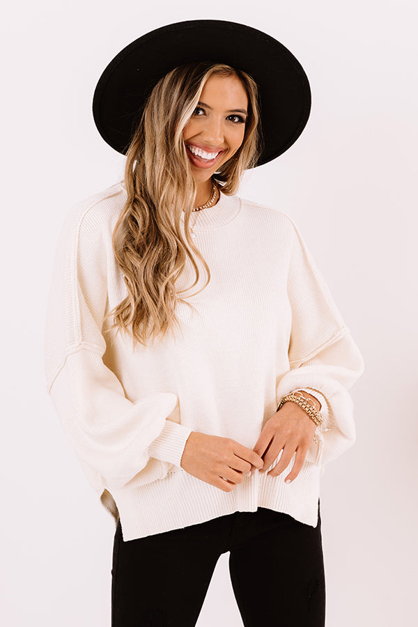 Latte Smiles Knit Sweater in Cream