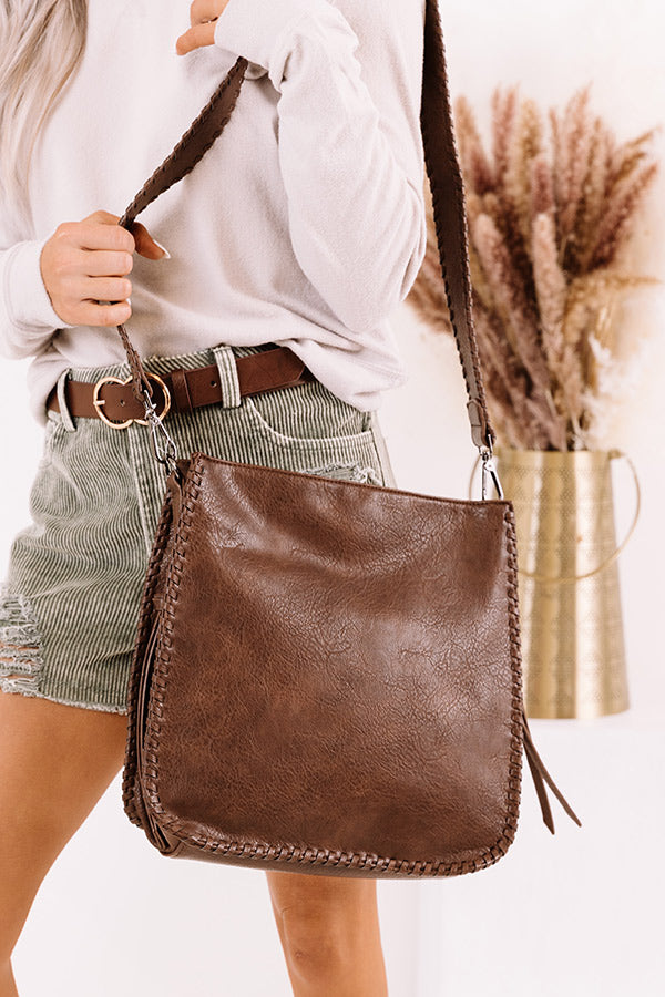 Somewhere Good Faux Leather Crossbody In Chestnut