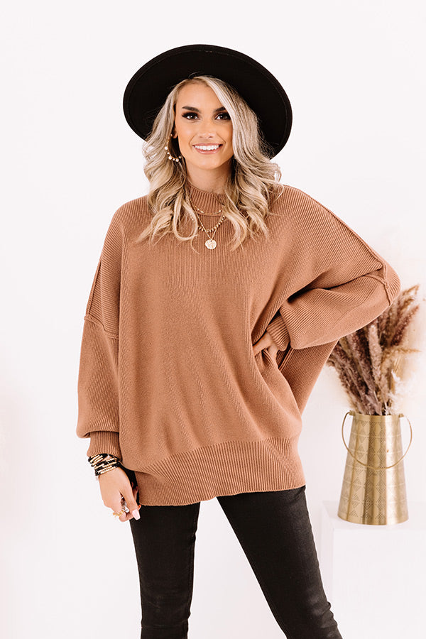 Full Of Warmth Tunic Sweater In Mocha