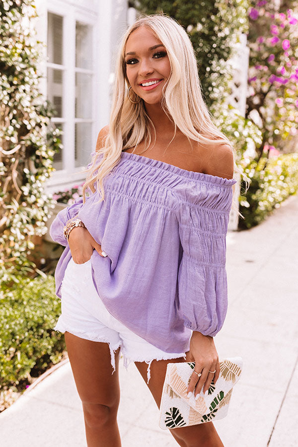 Swept Up In Sunshine Shift Top in Lavender