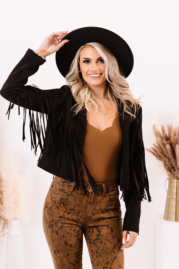 Gypsy Soul Faux Suede Fringe Jacket in Black