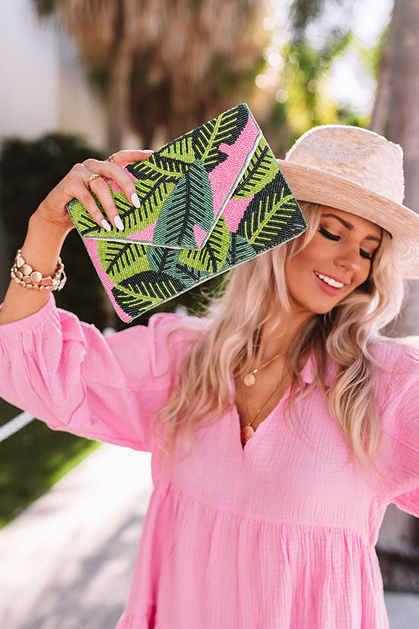 Tropical Villa Beaded Clutch