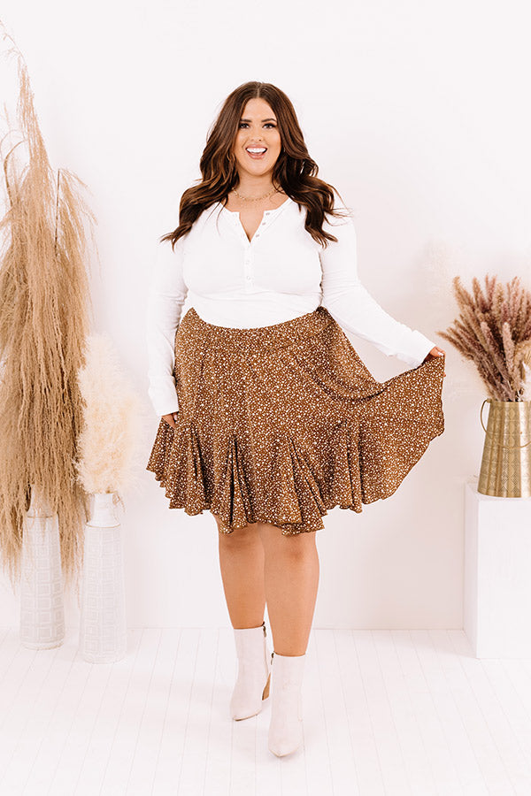 Wildest Wishes Leopard Skirt in Mocha
