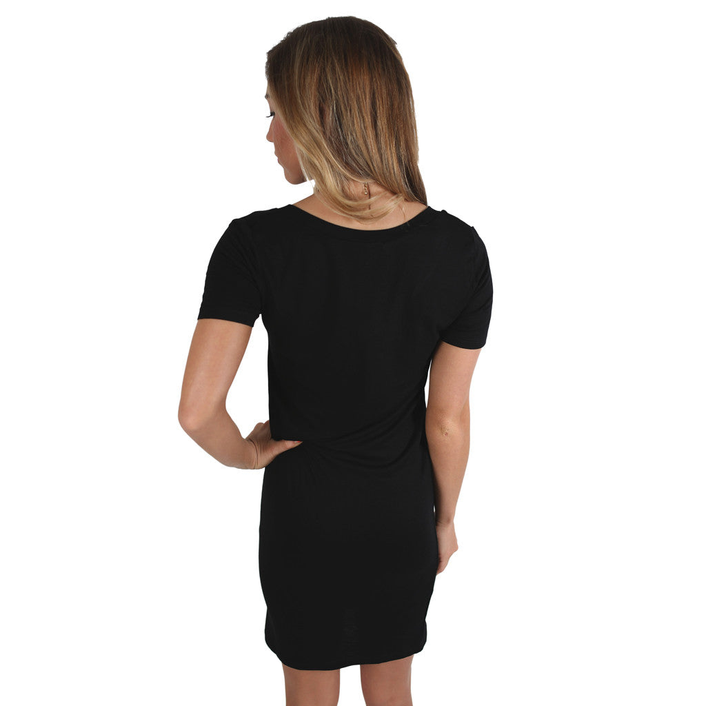 V-Neck Tee Dress in Black